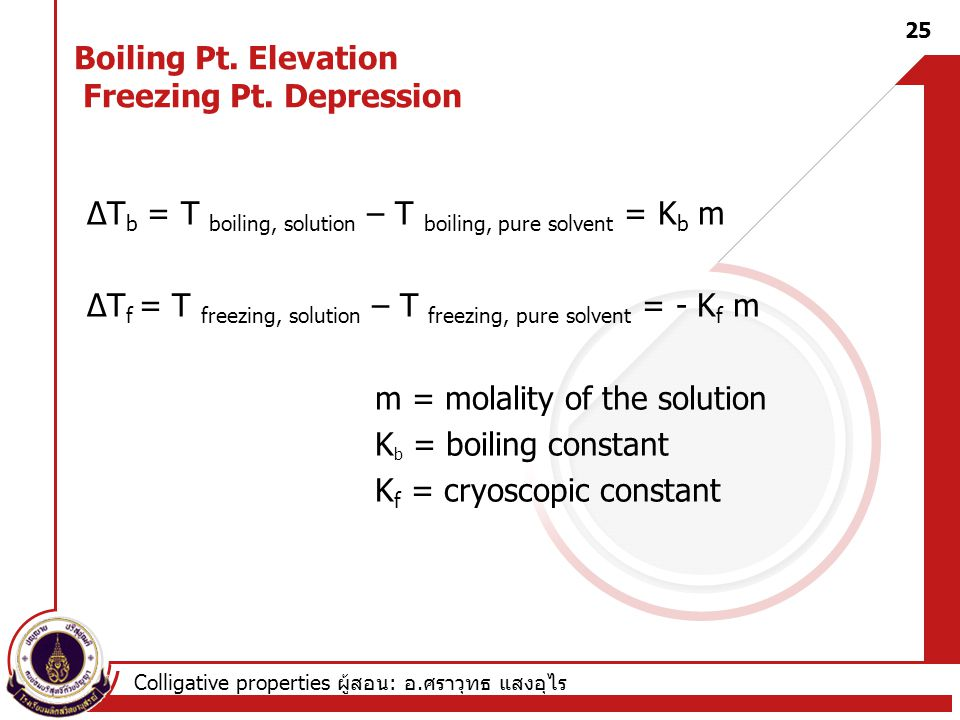 Boiling Pt. Elevation Freezing Pt. Depression