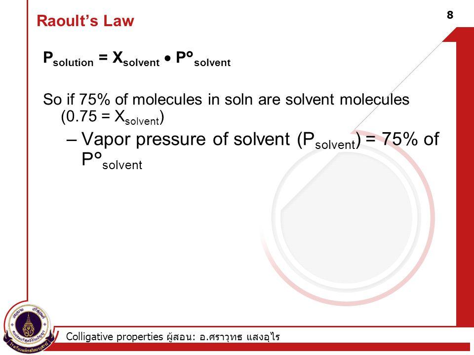Vapor pressure of solvent (Psolvent) = 75% of P°solvent
