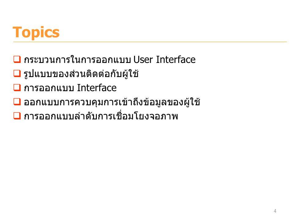 Topics กระบวนการในการออกแบบ User Interface