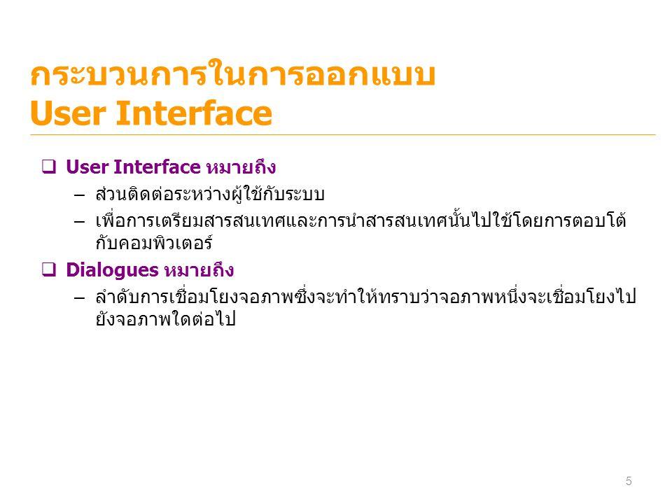 กระบวนการในการออกแบบ User Interface