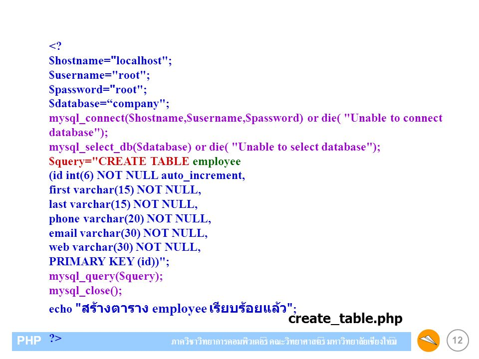 create_table.php < $hostname= localhost ;