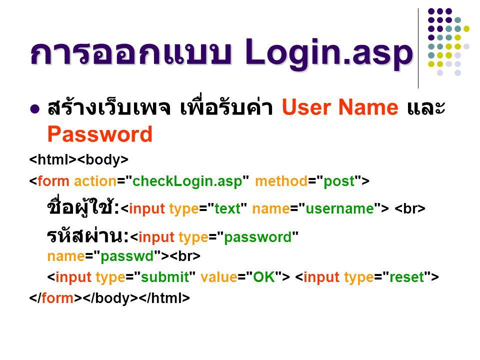 การออกแบบ Login.asp สร้างเว็บเพจ เพื่อรับค่า User Name และ Password