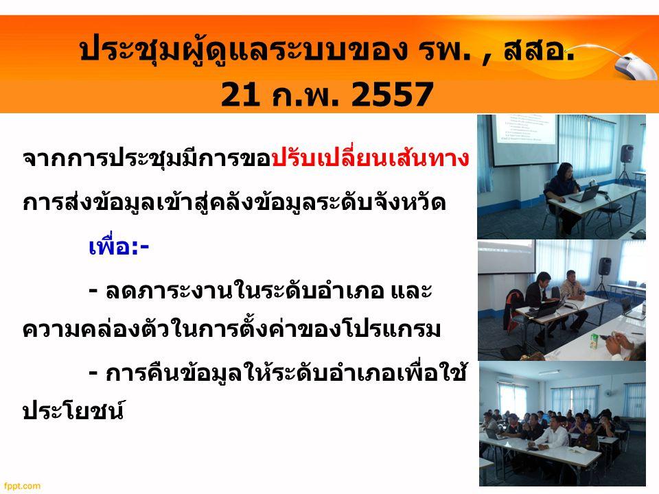 ประชุมผู้ดูแลระบบของ รพ. , สสอ. 21 ก.พ. 2557
