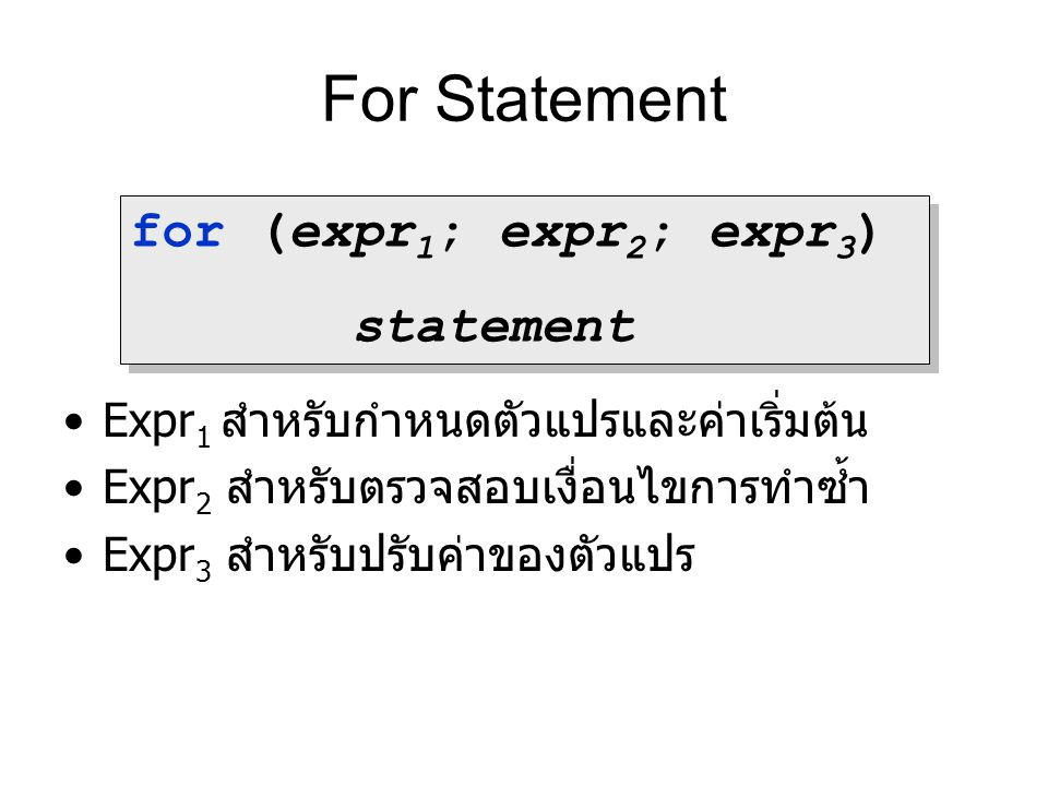 For Statement for (expr1; expr2; expr3) statement