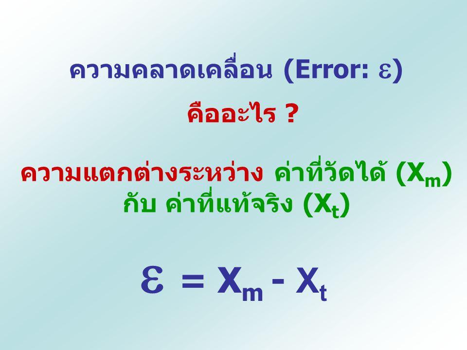  = Xm - Xt ความคลาดเคลื่อน (Error: ) คืออะไร
