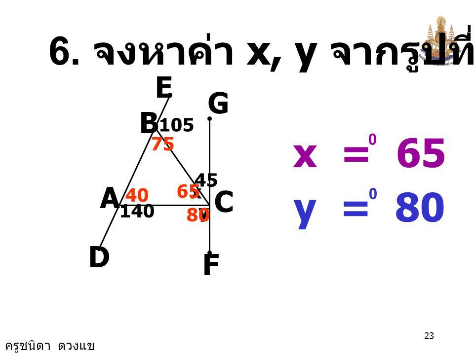 6. จงหาค่า x, y จากรูปที่กำหนดให้