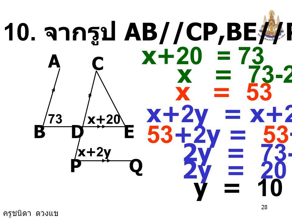 10. จากรูป AB//CP,BE//PQ หาค่า x, y x+20 = 73 x = 73-20 x = 53