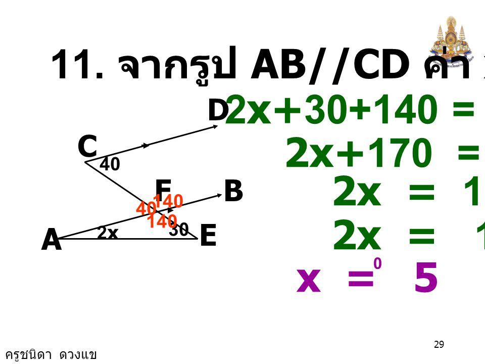 11. จากรูป AB//CD ค่า x เป็นเท่าใด 2x+30+140 = 180 2x+170 = 180