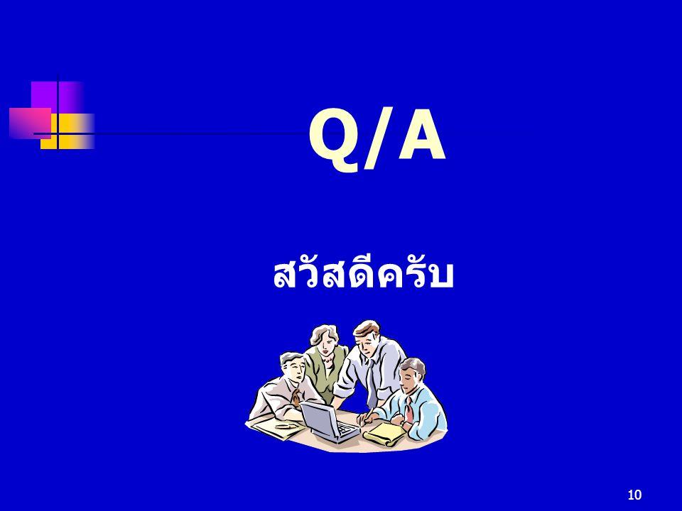 Q/A สวัสดีครับ