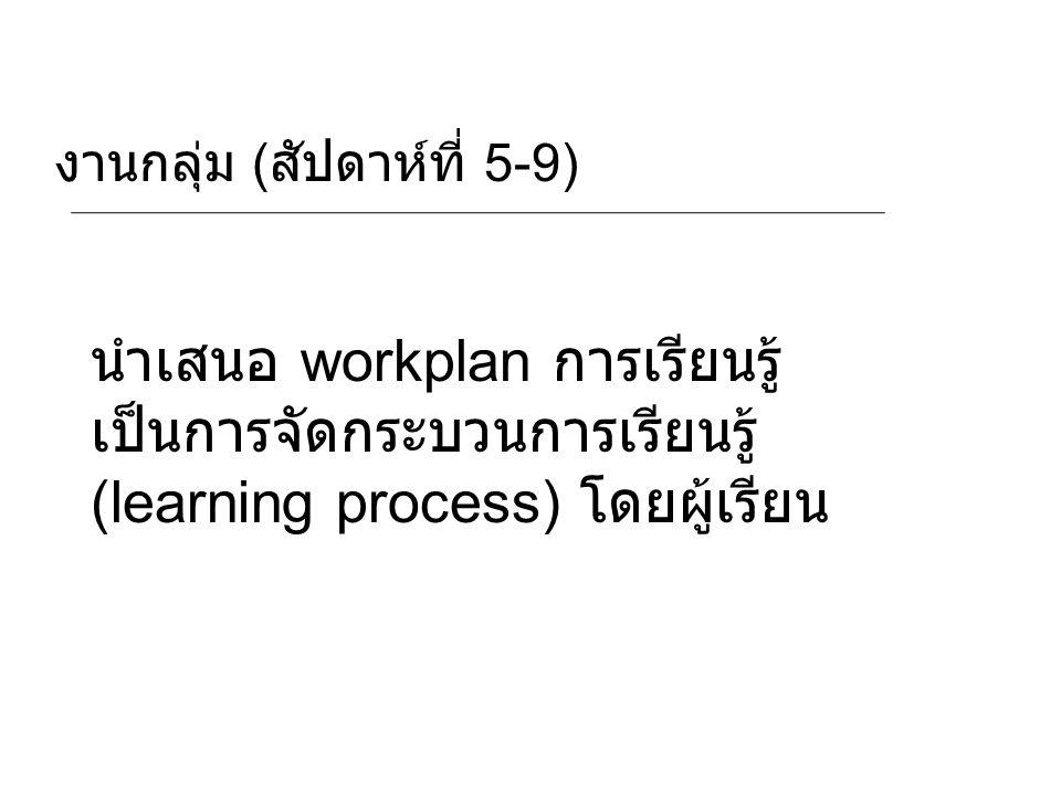 นำเสนอ workplan การเรียนรู้