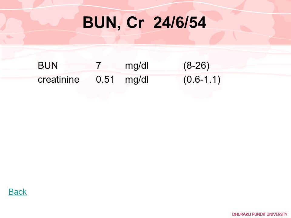 BUN, Cr 24/6/54 BUN 7 mg/dl (8-26) creatinine 0.51 mg/dl (0.6-1.1)