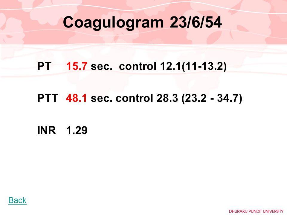 Coagulogram 23/6/54 PTT 48.1 sec. control 28.3 (23.2 - 34.7) INR 1.29