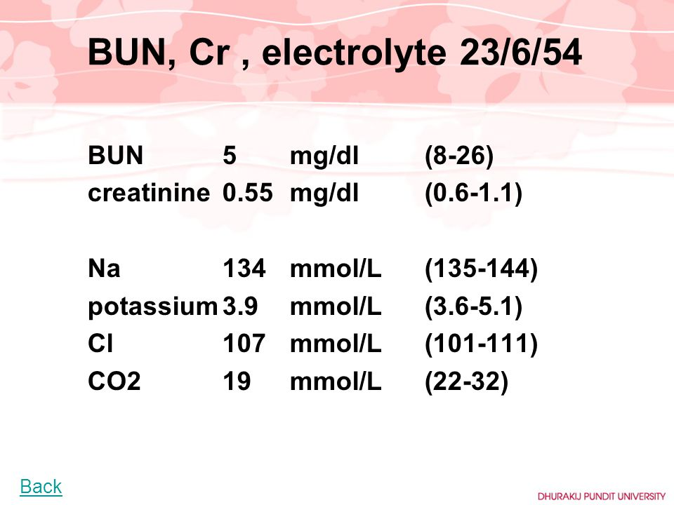 BUN, Cr , electrolyte 23/6/54 creatinine 0.55 mg/dl (0.6-1.1)