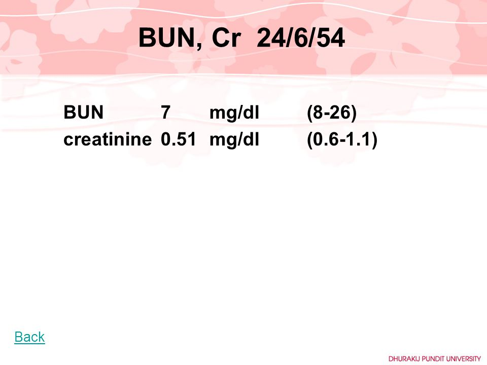 BUN, Cr 24/6/54 creatinine 0.51 mg/dl (0.6-1.1) BUN 7 mg/dl (8-26)
