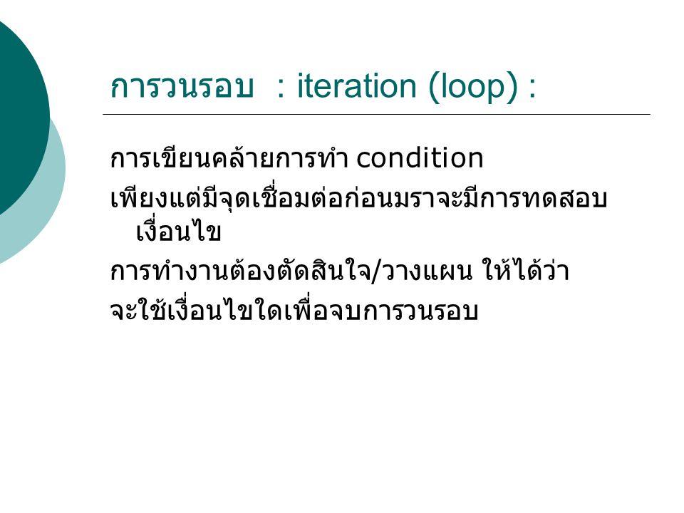 การวนรอบ : iteration (loop) :