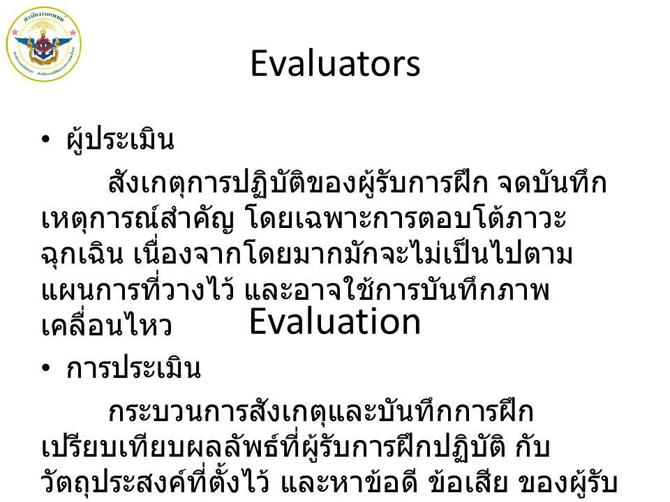 Evaluators Evaluation ผู้ประเมิน