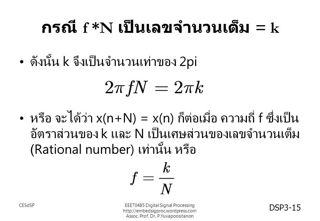 กรณี f *N เป็นเลขจำนวนเต็ม = k