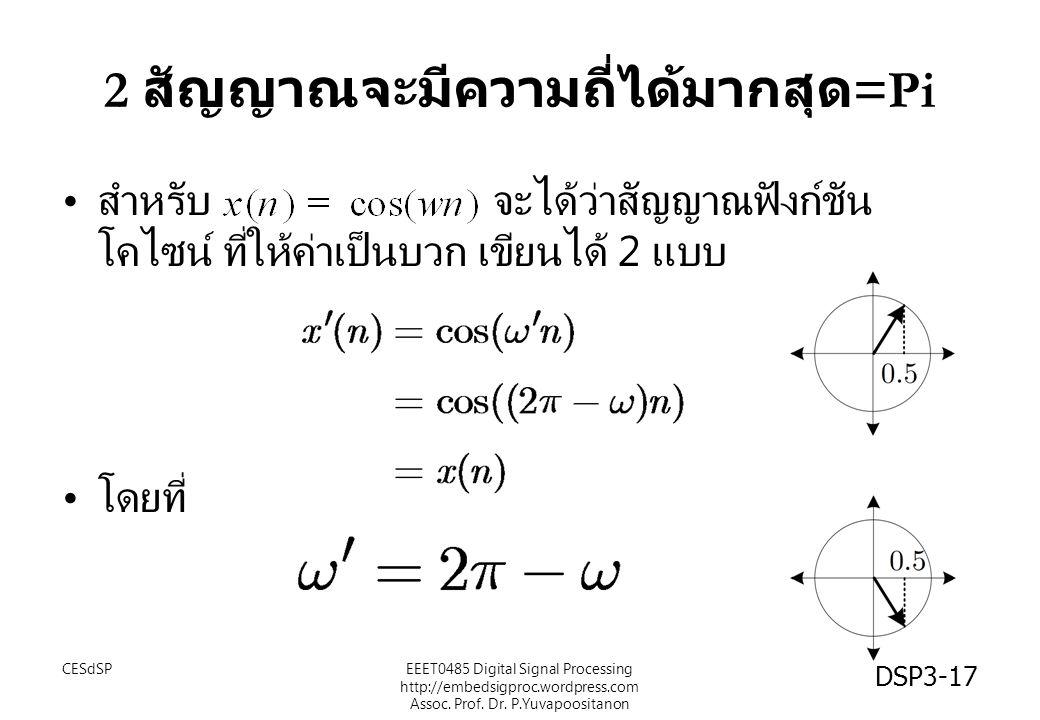 2 สัญญาณจะมีความถี่ได้มากสุด=Pi