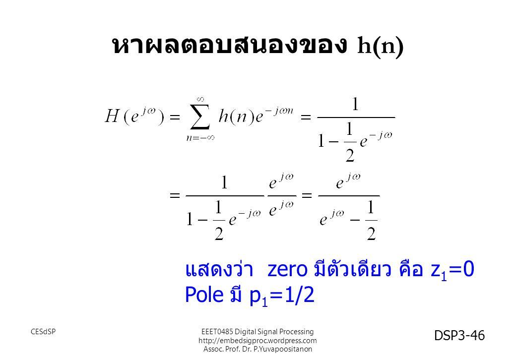 หาผลตอบสนองของ h(n) แสดงว่า zero มีตัวเดียว คือ z1=0 Pole มี p1=1/2