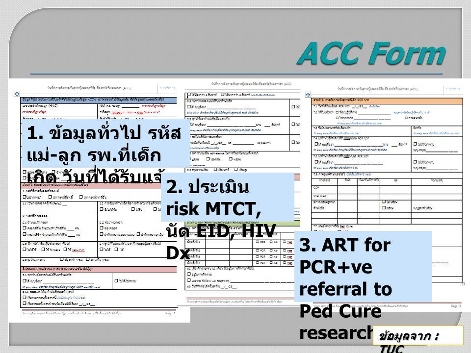 ACC Form 1. ข้อมูลทั่วไป รหัสแม่-ลูก รพ.ที่เด็กเกิด วันที่ได้รับแจ้ง