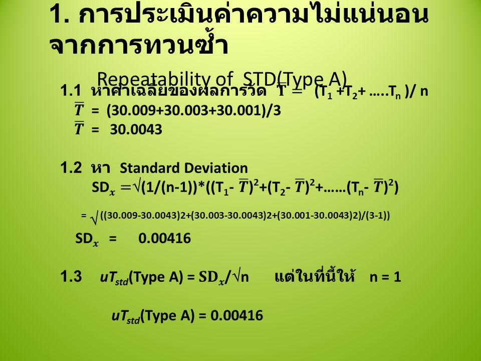 1. การประเมินค่าความไม่แน่นอนจากการทวนซ้ำ Repeatability of STD(Type A)