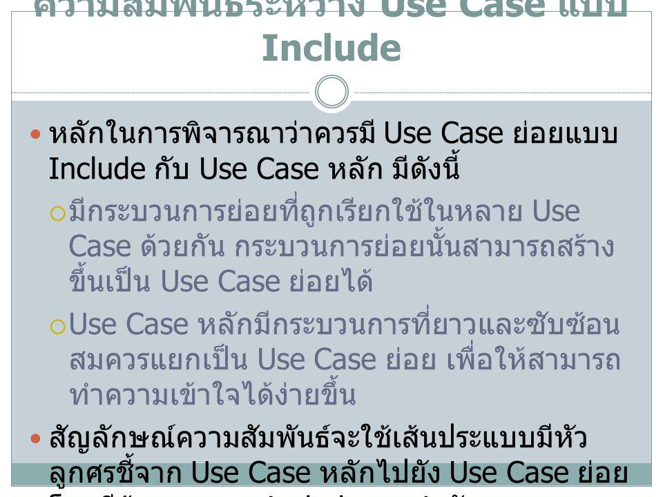 ความสัมพันธ์ระหว่าง Use Case แบบ Include