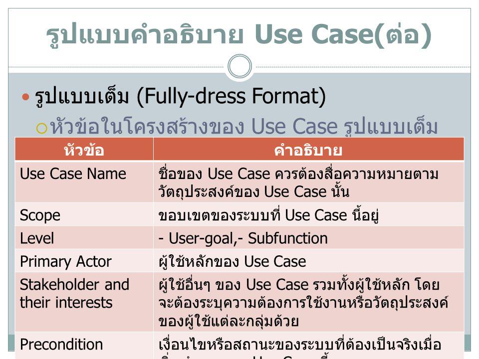 รูปแบบคำอธิบาย Use Case(ต่อ)