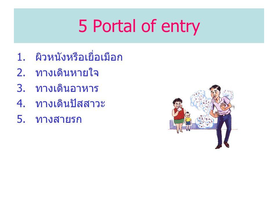 5 Portal of entry ผิวหนังหรือเยื่อเมือก ทางเดินหายใจ ทางเดินอาหาร
