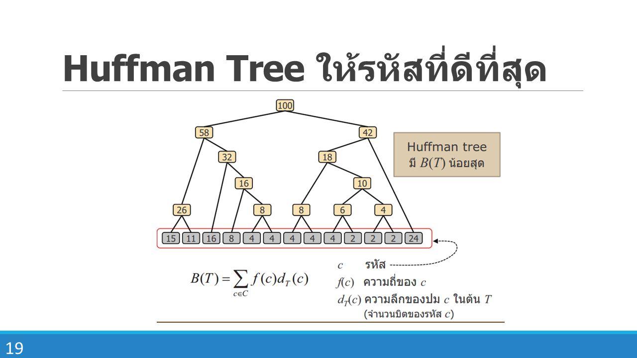 Huffman Tree ให้รหัสที่ดีที่สุด