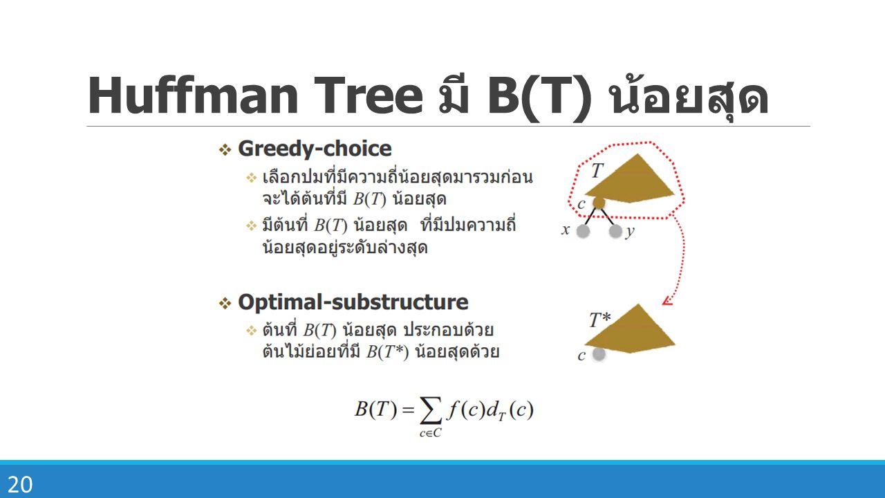 Huffman Tree มี B(T) น้อยสุด