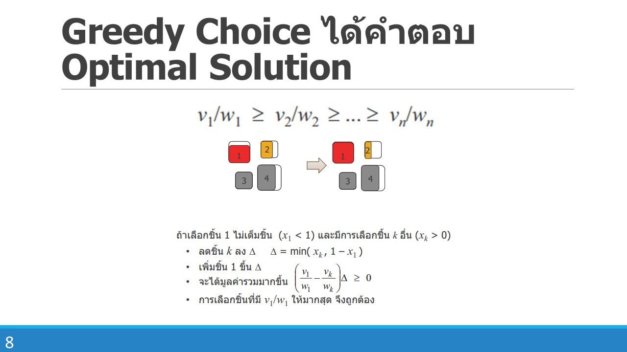 Greedy Choice ได้คำตอบ Optimal Solution