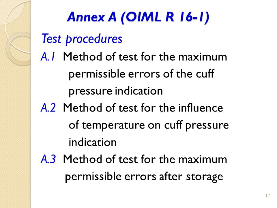 Annex A (OIML R 16-1) Test procedures
