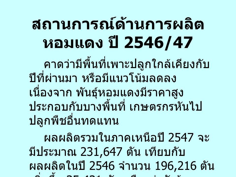 สถานการณ์ด้านการผลิตหอมแดง ปี 2546/47