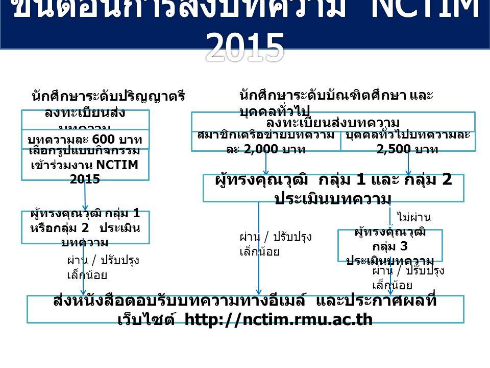 ขั้นตอนการส่งบทความ NCTIM 2015