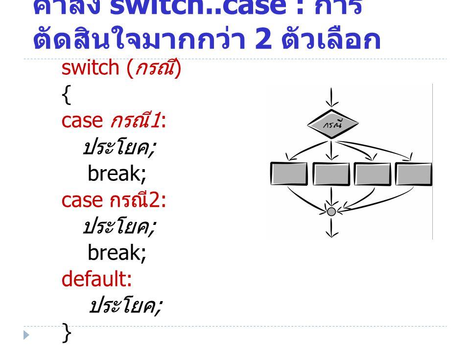 คำสั่ง switch..case : การตัดสินใจมากกว่า 2 ตัวเลือก