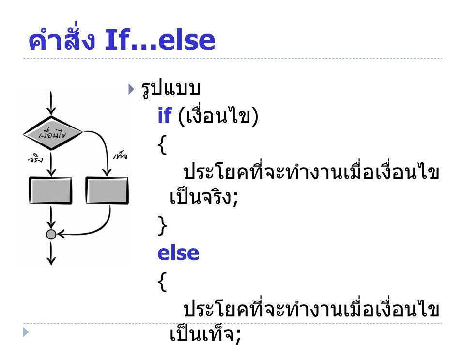 คำสั่ง If…else รูปแบบ if (เงื่อนไข) {