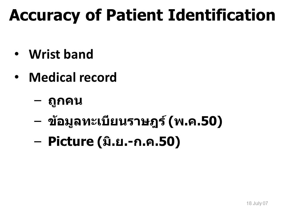 Accuracy of Patient Identification