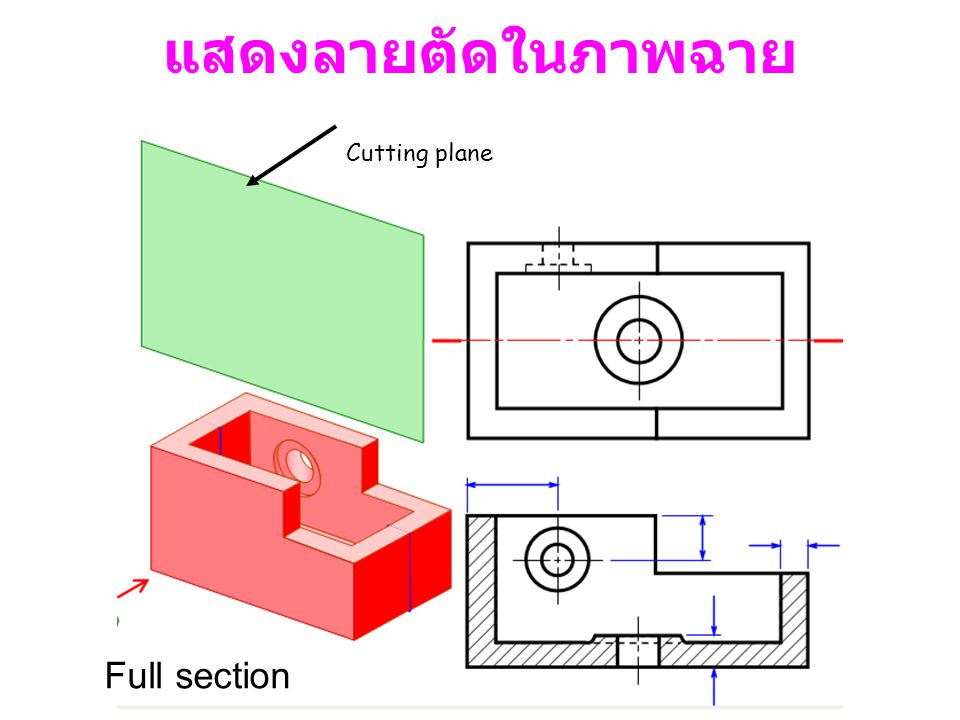 แสดงลายตัดในภาพฉาย Cutting plane Full section