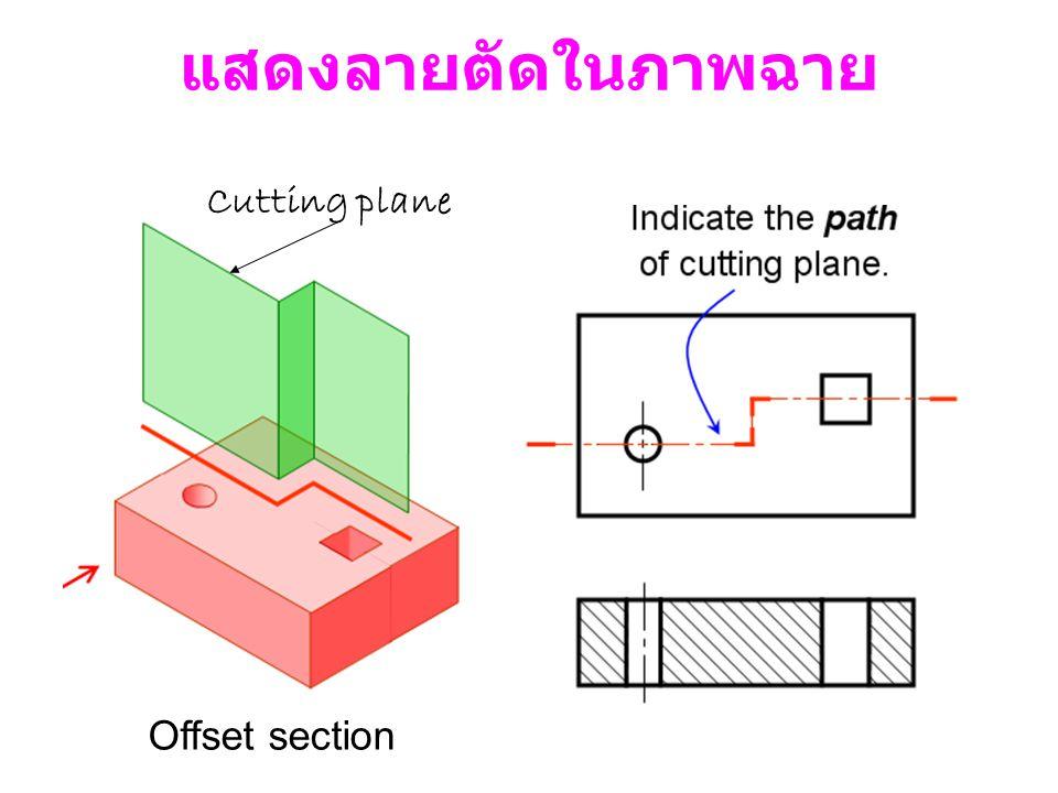 แสดงลายตัดในภาพฉาย Cutting plane Offset section