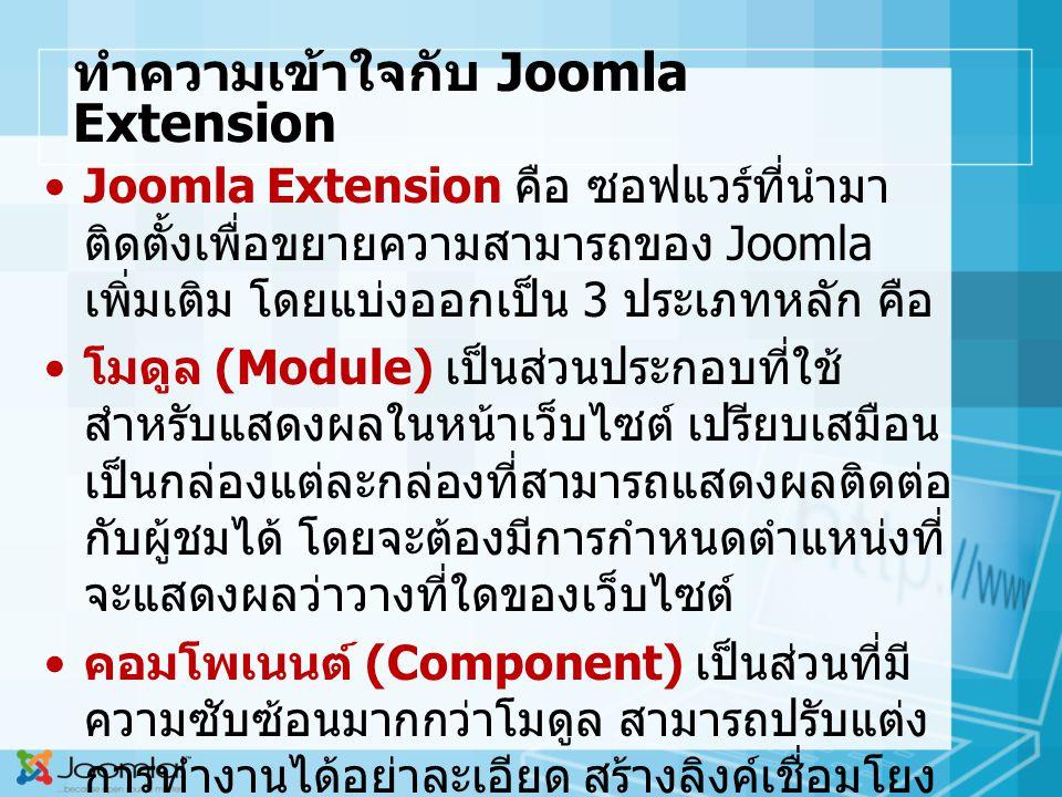 ทำความเข้าใจกับ Joomla Extension