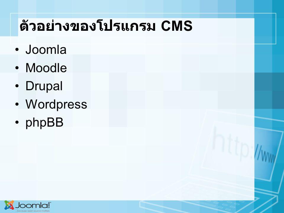 ตัวอย่างของโปรแกรม CMS