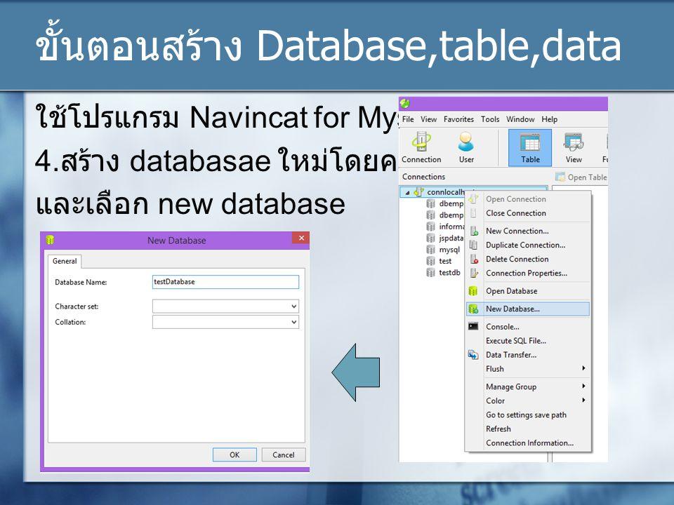 ขั้นตอนสร้าง Database,table,data