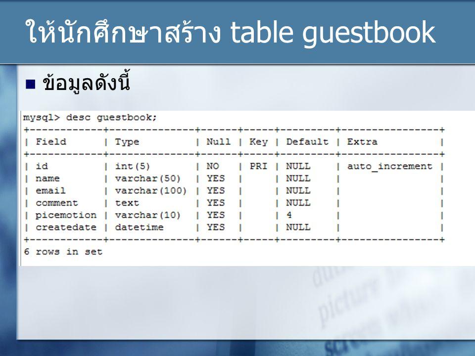 ให้นักศึกษาสร้าง table guestbook
