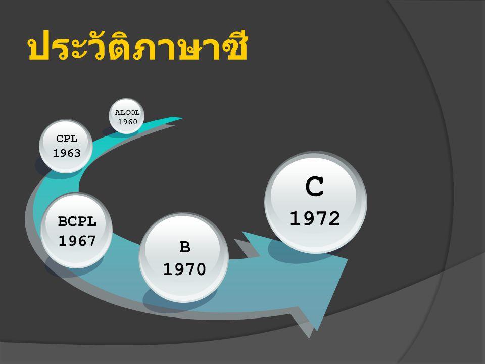 ประวัติภาษาซี ALGOL 1960 CPL 1963 C 1972 BCPL 1967 B 1970
