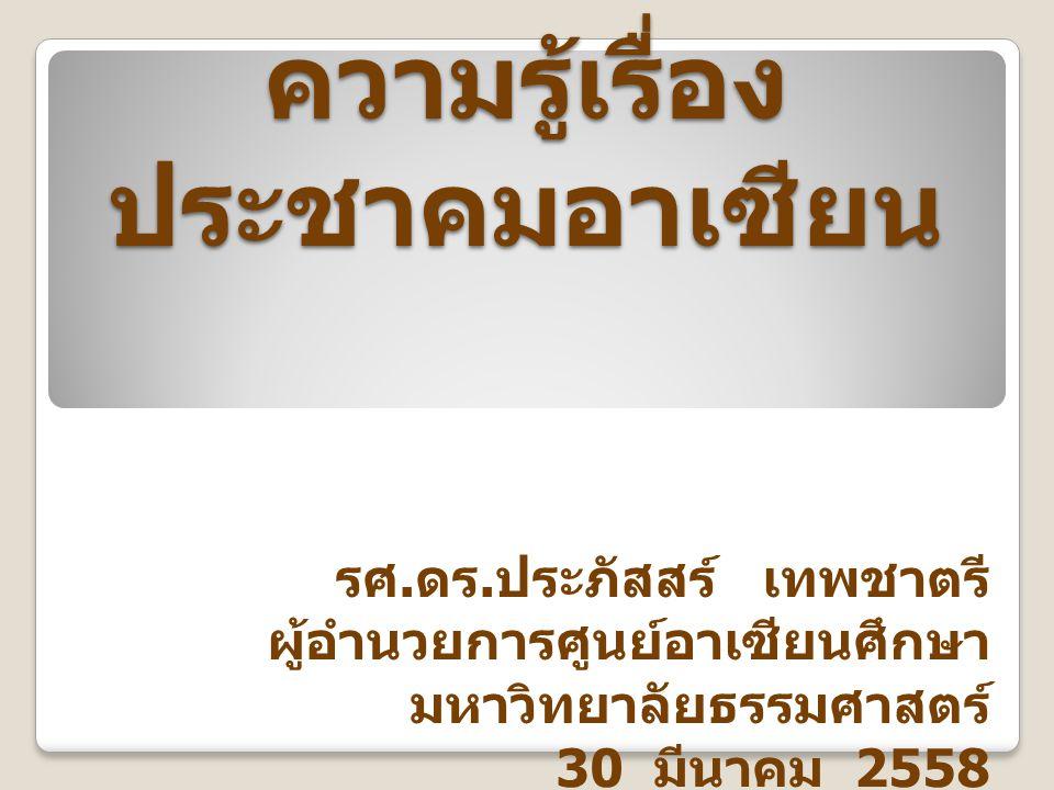 ความรู้เรื่องประชาคมอาเซียน
