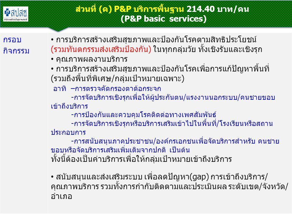 ส่วนที่ (ค) P&P บริการพื้นฐาน 214.40 บาท/คน (P&P basic services)