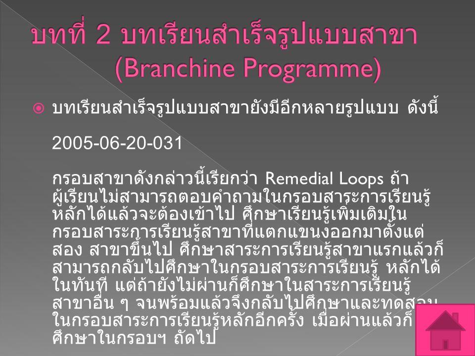 บทที่ 2 บทเรียนสำเร็จรูปแบบสาขา (Branchine Programme)