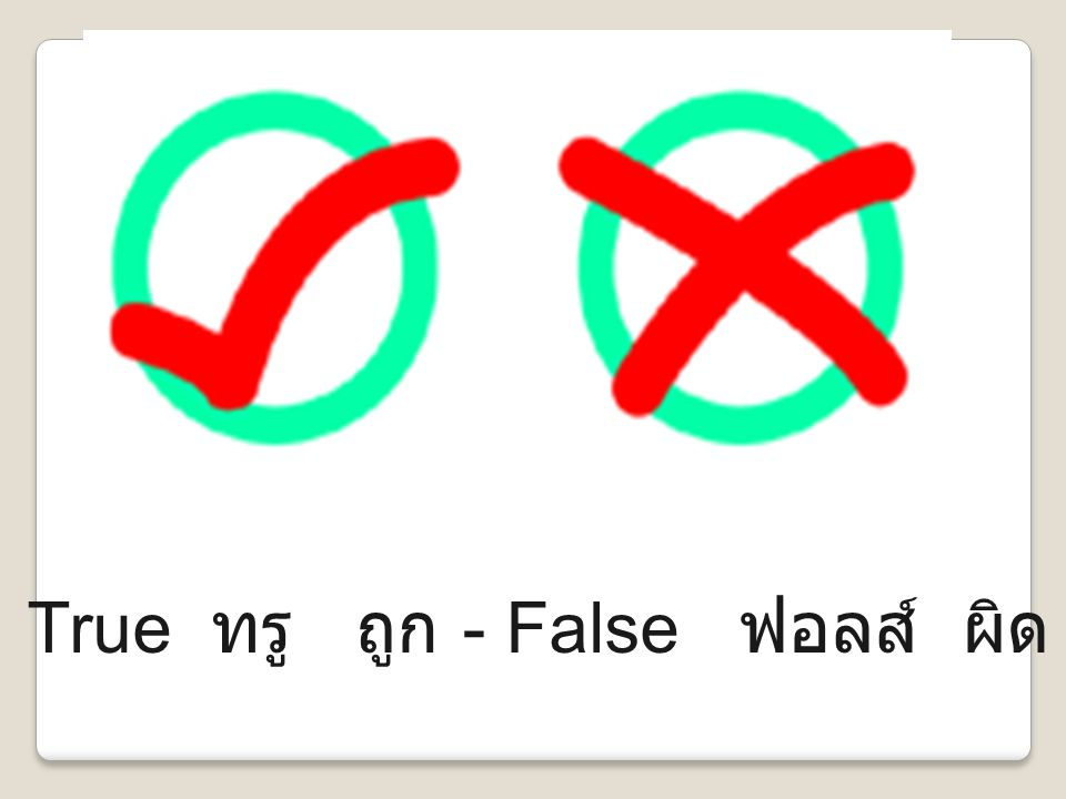 True ทรู ถูก - False ฟอลส์ ผิด
