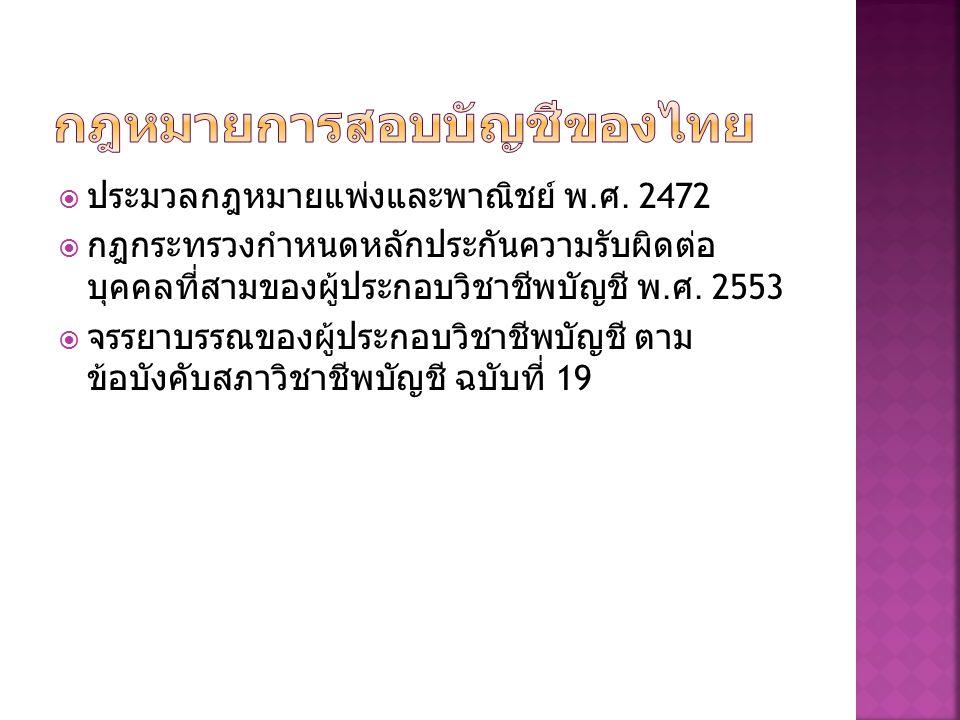 กฎหมายการสอบบัญชีของไทย