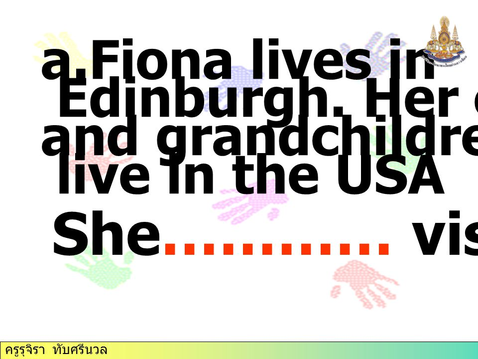 She………… visit them. Fiona lives in Edinburgh. Her children